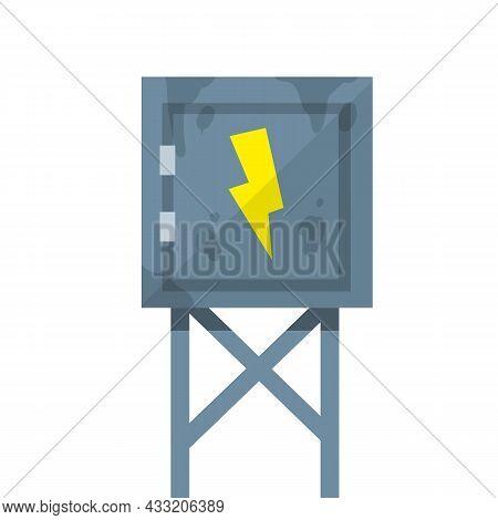 Switchboard. High Voltage Sensor. Technical Industrial Appliance. Danger Sign - Yellow Lightning. Cu