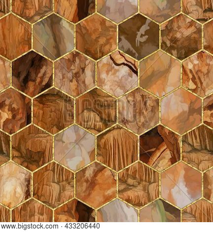 Hexagon Seamless Texture. Mosaic, Inlay. Illustration In Stained Glass Style. Art Deco Style. Seamle