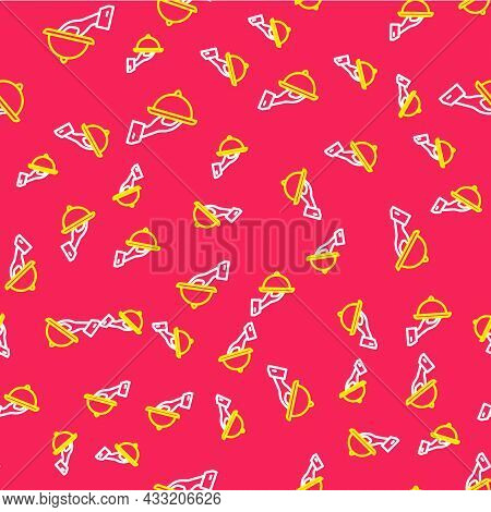 Line Covered With A Tray Of Food Icon Isolated Seamless Pattern On Red Background. Tray And Lid Sign