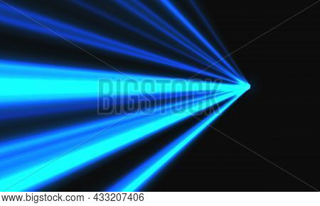 Abstract Blue Light Speed Dynamic Zoom On Black Background Technology Vector Illustration.