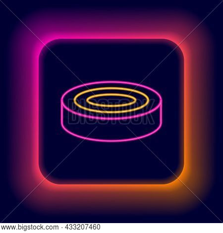 Glowing Neon Line Checker Game Chips Icon Isolated On Black Background. Colorful Outline Concept. Ve