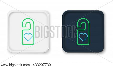 Line Please Do Not Disturb With Heart Icon Isolated On White Background. Hotel Door Hanger Tags. Col