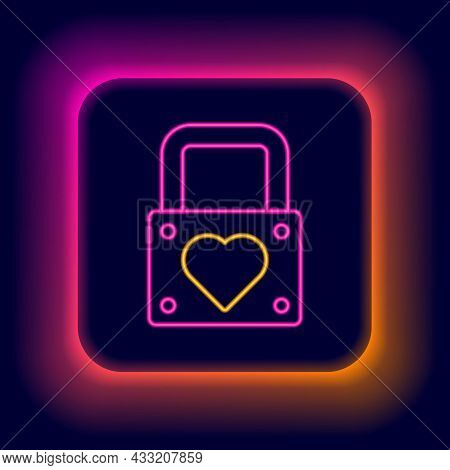 Glowing Neon Line Lock And Heart Icon Isolated On Black Background. Locked Heart. Love Symbol And Ke