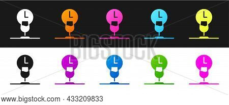 Set Wine Time Icon Isolated On Black And White Background. Wine Glass. Wineglass Sign. Vector