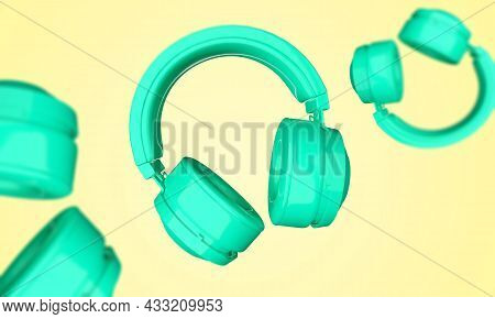 3d Rendering Headphones Isolated On White Background