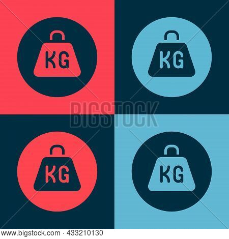 Pop Art Weight Icon Isolated On Color Background. Kilogram Weight Block For Weight Lifting And Scale