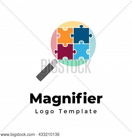 Creative Vector Magnifier Logo Template. Abstract Search Sign. Digital Research. Modern Minimalistic