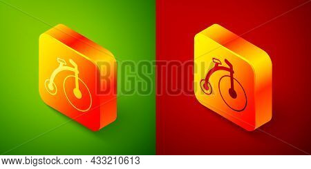 Isometric Vintage Bicycle With One Big Wheel And One Small Icon Isolated On Green And Red Background