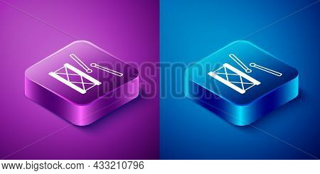 Isometric Drum With Drum Sticks Icon Isolated On Blue And Purple Background. Music Sign. Musical Ins