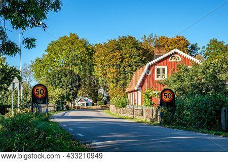 Countryside Road On Swedish Baltic Sea Island