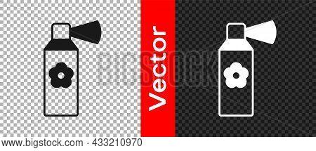 Black Air Freshener Spray Bottle Icon Isolated On Transparent Background. Air Freshener Aerosol Bott
