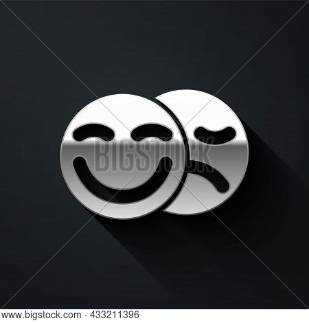 Silver Comedy And Tragedy Theatrical Masks Icon Isolated On Black Background. Long Shadow Style. Vec