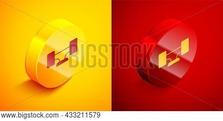 Isometric Skateboard Wheel Icon Isolated On Orange And Red Background. Skateboard Suspension. Skate