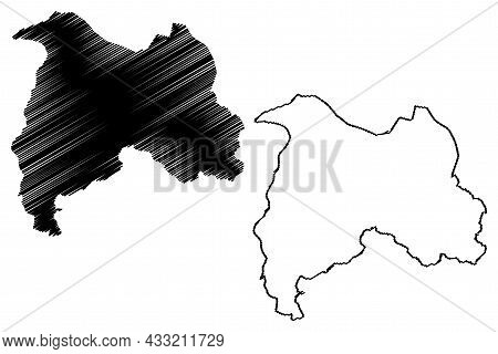 Bandipore District (jammu And Kashmir Union Territory, Republic Of India) Map Vector Illustration, S