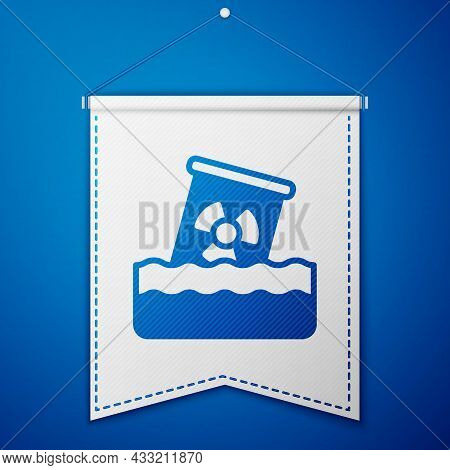 Blue Radioactive Waste In Barrel Icon Isolated On Blue Background. Toxic Waste Contamination On Wate