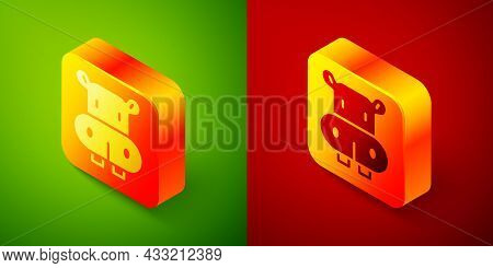 Isometric Hippo Or Hippopotamus Icon Isolated On Green And Red Background. Animal Symbol. Square But