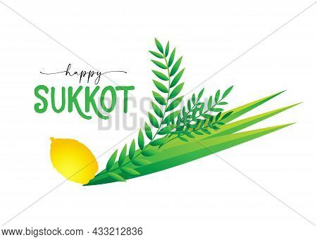 Happy Sukkot, Jewish Traditional Holiday Card With Four Spices And Herbs - Lulav, Etrog, Aravah, Had