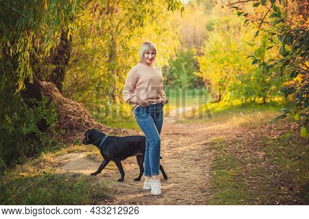 A Blonde Woman With A Short Haircut Walks Through The Forest In A Knitted Sweater And Big Black Dog