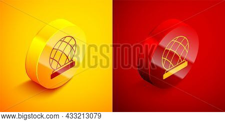 Isometric Montreal Biosphere Icon Isolated On Orange And Red Background. Circle Button. Vector
