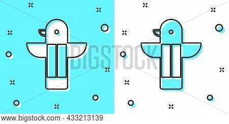 Black Line Canadian Totem Pole Icon Isolated On Green And White Background. Random Dynamic Shapes. V