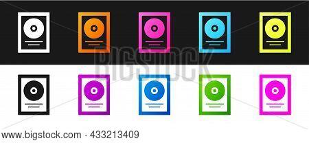 Set Cd Disk Award In Frame Icon Isolated On Black And White Background. Modern Ceremony. Best Seller
