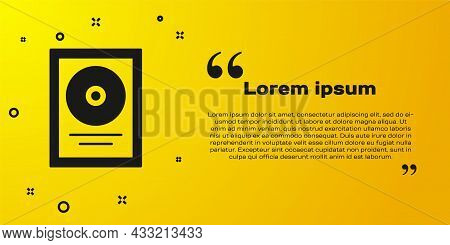 Black Cd Disk Award In Frame Icon Isolated On Yellow Background. Modern Ceremony. Best Seller. Music