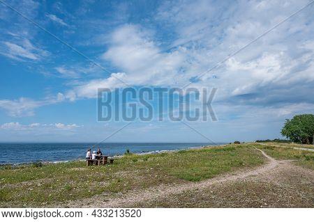 Byxelkrok, Sweden - July 3, 2021: Characteristic Landscape On The Northwest Coast Of Swedish Baltic