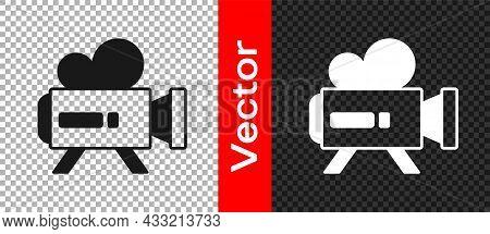 Black Retro Cinema Camera Icon Isolated On Transparent Background. Video Camera. Movie Sign. Film Pr