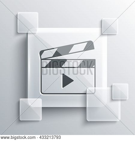 Grey Movie Clapper Icon Isolated On Grey Background. Film Clapper Board. Clapperboard Sign. Cinema P