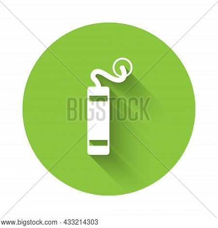 White Detonate Dynamite Bomb Stick Icon Isolated With Long Shadow Background. Time Bomb - Explosion