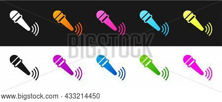 Set Wireless Microphone Icon Isolated On Black And White Background. On Air Radio Mic Microphone. Sp