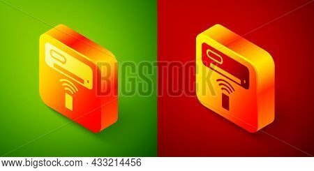 Isometric Air Conditioner Icon Isolated On Green And Red Background. Split System Air Conditioning.