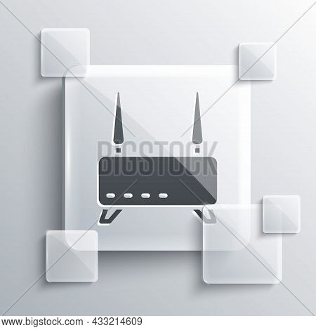Grey Router And Wi-fi Signal Icon Isolated On Grey Background. Wireless Ethernet Modem Router. Compu