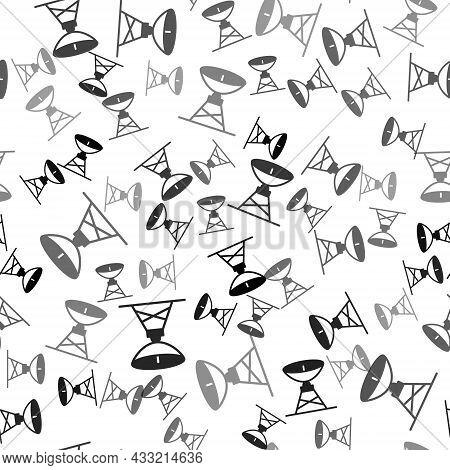 Black Satellite Dish Icon Isolated Seamless Pattern On White Background. Radio Antenna, Astronomy An