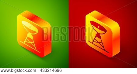 Isometric Satellite Dish Icon Isolated On Green And Red Background. Radio Antenna, Astronomy And Spa