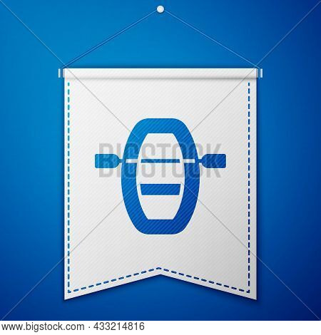 Blue Boat With Oars Icon Isolated On Blue Background. Water Sports, Extreme Sports, Holiday, Vacatio