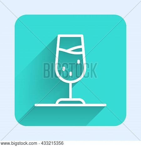 White Line Wine Glass Icon Isolated With Long Shadow Background. Wineglass Sign. Green Square Button