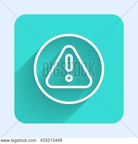 White Line Exclamation Mark In Triangle Icon Isolated With Long Shadow Background. Hazard Warning Si