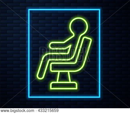 Glowing Neon Line Human Waiting In Airport Terminal Icon Isolated On Brick Wall Background. Vector