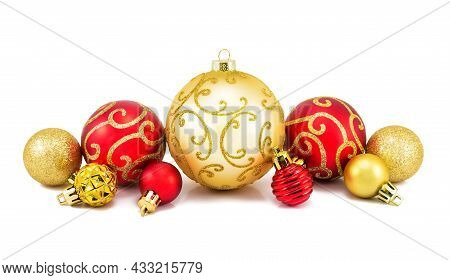 Red And Golden Christmas Balls On A White Background. Set Of Christmas Decoration Baubles Isolated O