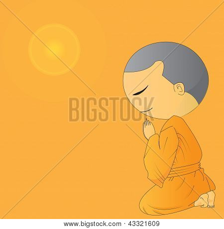 Illustration Of Cute Begging Young Monk Cartoon