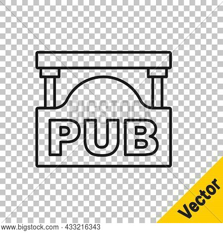 Black Line Street Signboard With Inscription Pub Icon Isolated On Transparent Background. Suitable F