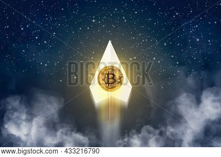 Gold Bitcoin Growth On Paper Plane Flying Upwards With Pollution Smoke At Night Time And Many Galaxy