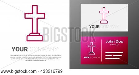 Logotype Line Man Graves Funeral Sorrow Icon Isolated On White Background. The Emotion Of Grief, Sad