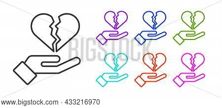 Black Line Broken Heart Or Divorce Icon Isolated On White Background. Love Symbol. Valentines Day. S