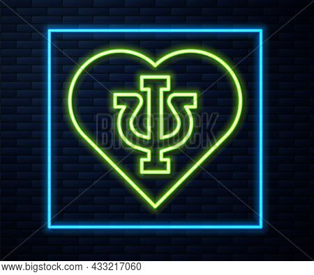 Glowing Neon Line Psychology Icon Isolated On Brick Wall Background. Psi Symbol. Mental Health Conce