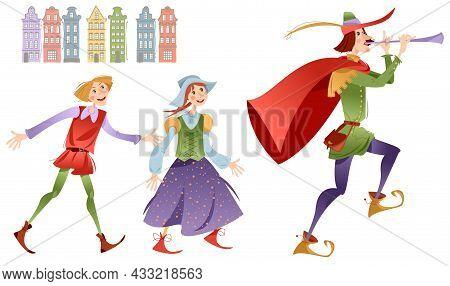 Pied Piper Of Hamelin (german: Rattenfänger Von Hameln). German Fairy Tale. Vector Illustration