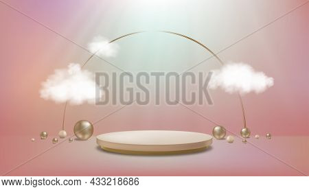 Studio Room With Cylinder Podium,bead Balls On Pastel Floor,gallery Room With Cloud And Sport Light