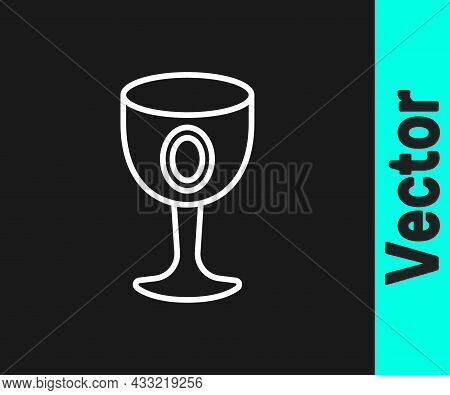 White Line Medieval Goblet Icon Isolated On Black Background. Holy Grail. Vector