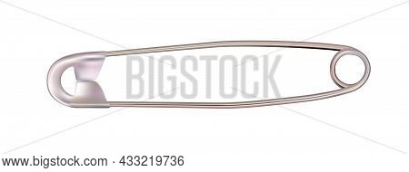Safety Pin Isolated On A White Background. Illustration.